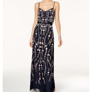Adrianna Papell Floral Beaded Blousan Gown